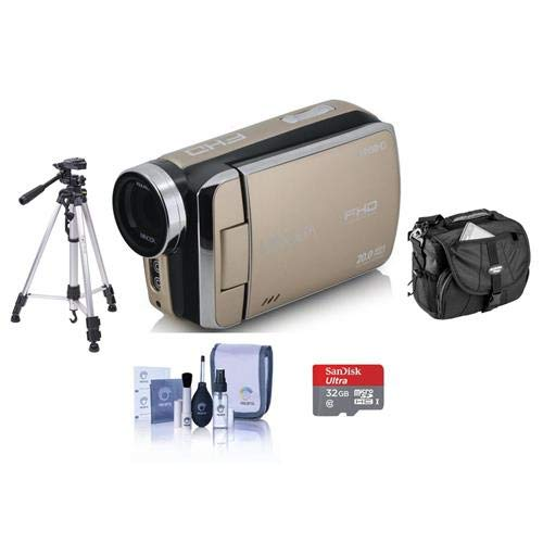 Minolta MN50HD 1080p Full HD 20MP Digital Camcorder, Gold - Bundle with 32GB MicroSDHC Card, Video Case, Tripod, Cleaning Kit