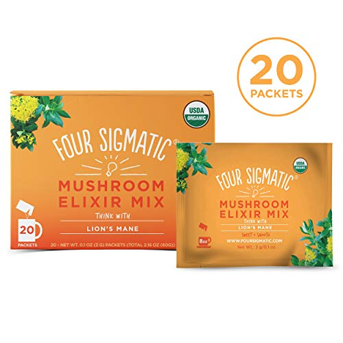 (Four Sigmatic Lion's Mane Mushroom Elixir - USDA Organic Lions Mane Mushroom Powder - Memory, Focus, Creativity - Vegan, Paleo - 20 Count)
