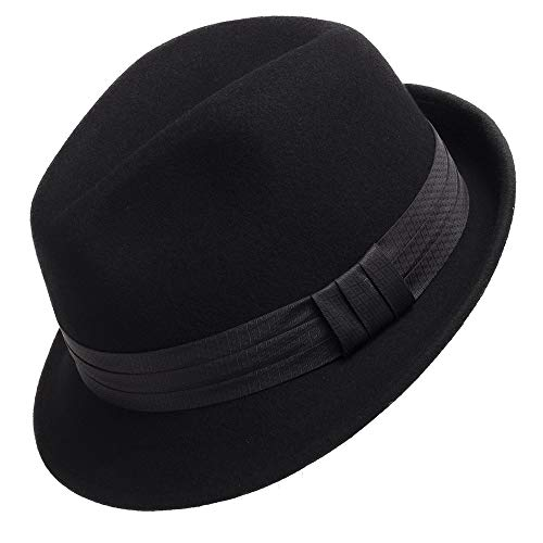 - Wool Felt Trilby Snap Brim Fedora Hat BLACK 7 1/8