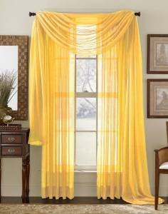 WPM  60 x 63-Inches Sheer Window Elegance Curtains/drape/panels/treatment, Yellow