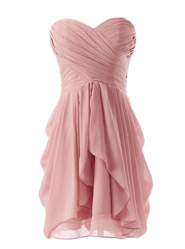 Dressystar Short Strapless chiffon party dress evening dress Blush 2