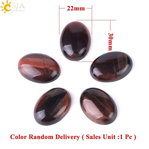 Calvas Red Tiger Eye Natural Stone Cabochon Beads for DIY Jewelry Fashion Ring Accessories Dome Bead Handcrafted Material 1Pc F514 - (Color: 22x30mm)