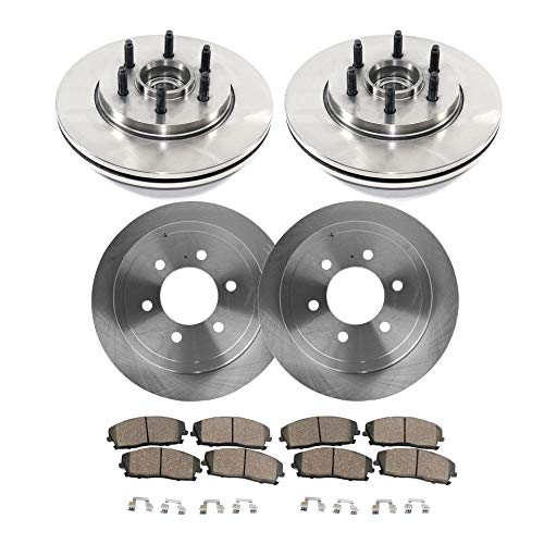 Detroit Axle - All (4) Front and Rear Disc Brake Rotors w/Ceramic Pads w/Hardware for 2004 2005 2006 2007 2008 Ford F-150 2WD 6 Lug - [06-08 Lincoln Mark - Rear 06 Brake