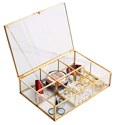 Golden Vintage Glass Box Clear Glass & Brass Metal Storage Jewelry and Cosmetic Makeup Brush Holder Organizer Beauty Display, 6 Compartment