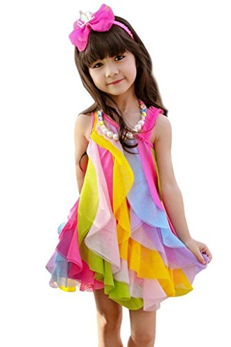 ASHERANGEL Toddler Girls Dresses Sweet Rainbow Summer Beach Sundress Tulle Skirt Rose 7-8Y ()