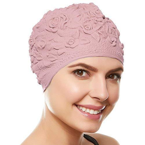 (Beemo Women Swim Bathing Caps Ladies Retro Style Latex Embossed- Pastel Pink )