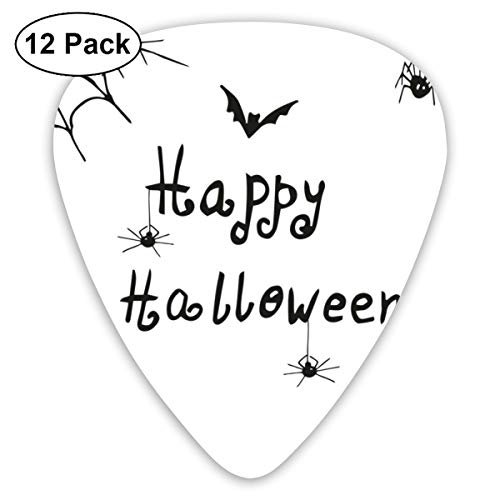 Guitar Picks 12-Pack,Happy Halloween Celebration Monochrome Hand Drawn Style Creepy Doodle Artwork -
