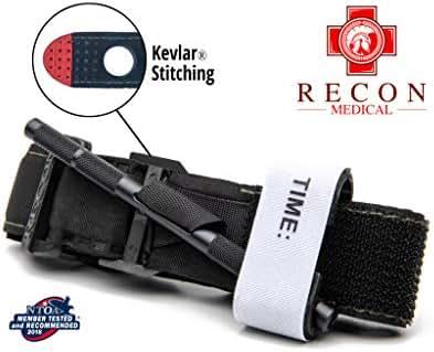 Tourniquet - (Black) Recon Medical Gen 3 Mil-Spec Kevlar Metal Windlass Aluminum Lightweight First Aid Tactical Swat Medic Pre-Hospital Life Saving Hemorrhage Control Registration Card (1 Pack)
