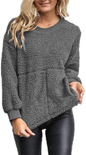 レディース ファジー フリース 冬暖かいプルオーバー コート ロングスリーブ シェルパ T シャツ