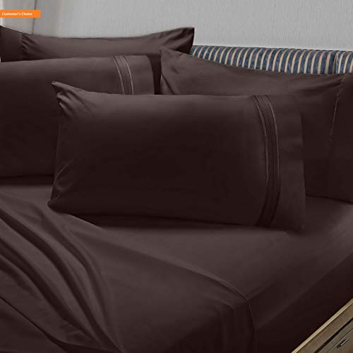 - Mikash New Soft Premier 1800 Collection 6pc Bed Sheet Set with Extra Pillowcases - King, Chocolate Brown | Style 84600399