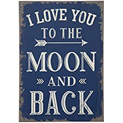 "Creative Co-op ""I Love You to The Moon and Back Wood Wall Decor"