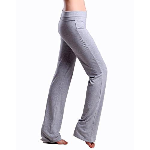 58448736c4 outlet HDE Women's Color Block Fold Over Waist Yoga Pants Flare Leg Workout  Leggings