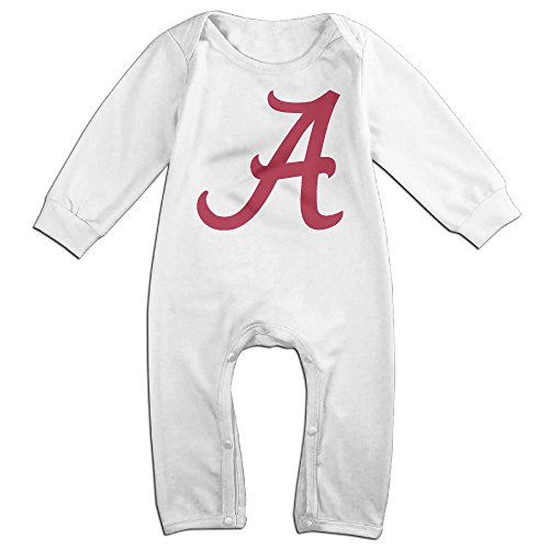 KIDDOS Baby Infant Romper University Of Alabama - A Logo Long Sleeve Jumpsuit Costume,White 6 M