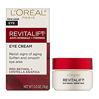 Eye Cream with Pro Retinol, L'Oreal Paris Skincare Revitalift Anti-Wrinkle and Firming Eye Cream Treatment to Reduce Dark Circles, Fragrance Free, 0.5 oz.