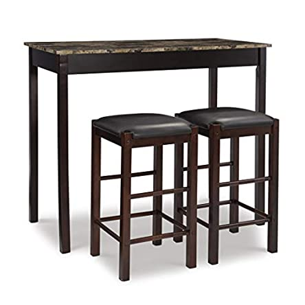 Linon Brown 3-Piece Table Faux Marble Tavern Set, 42″...