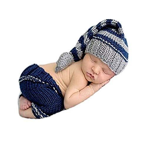 (Newborn Baby Photo Shoot Props Girl Boy Crochet Knit Hat Costume Stripe Hat Pants Overalls Photography Props Blue)