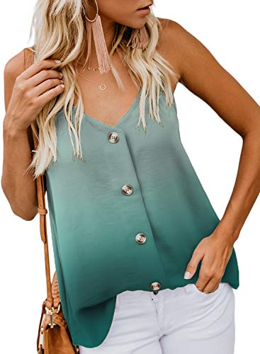 BLENCOT Women Cute Tie Dye Sleeveless Shirts Blouses Button Up V Neck Spaghetti Strap Fashion Cami Tank Top Green L (Love Womens Top Tank)