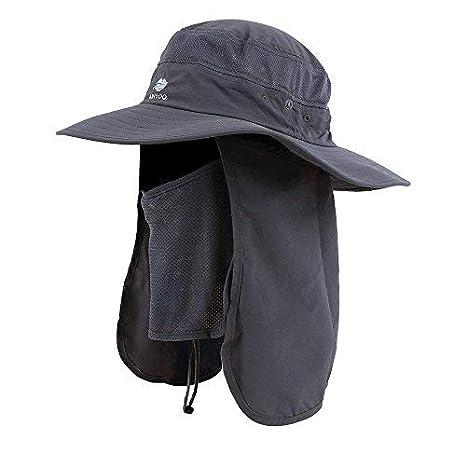 Anyoo Cappello con Risvolti per Esterni Protezione UV Cappello con Ampio  Bordo da Pesca Caccia Canottaggio c57c5650ef13