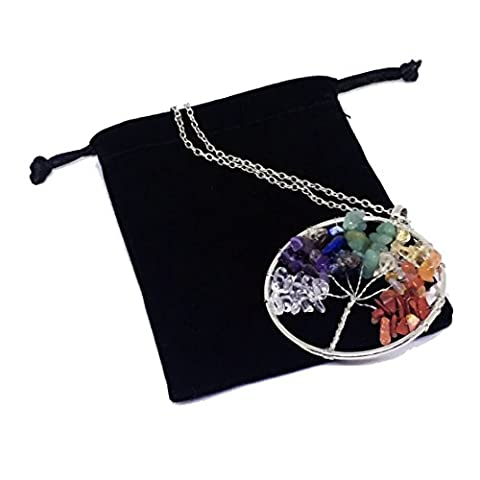 Duseco Tree of Life Pendant Amethyst Rose Crystal Necklace Gemstone Chakra Vintage Jewelry Gifts for Mothers (Assorted Broaches)
