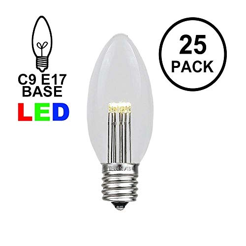 (Novelty Lights 25 Pack C9 LED Outdoor Christmas Glass Replacement Bulbs, Warm White)