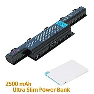 Battpit Bateria de repuesto para portátiles Acer Aspire E1-421-0428 (4400mah / 48wh) con Ultra-Compacto 1A Baterú} externa Cargador USB portátil 2500mAh con Lightning para iPhone 5/5s/5c/6/6 Plus, iPad Air / Mini, Micro USB para Android smartphones.