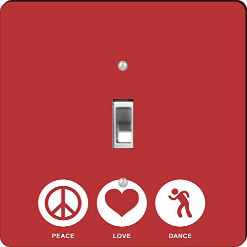 Rikki Knight RK-LSPS-42443 Peace Love Dance Red Color Design Light Switch Plate Cover by Rikki Knight