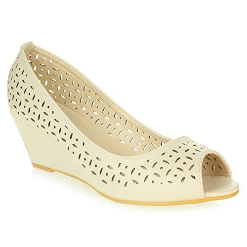 Intelligent Chaussures Peeptoe Talons Taille Enfilr Femmes Décontractée Confort Bureau compensés de Sandales Beige à Dames Travail OwIqU
