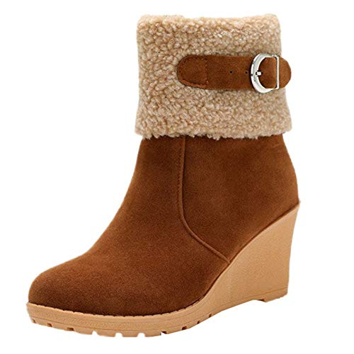 COPPEN Women Snow Boots Brief Buckle Zipper Wedges High Heeled Platform Shoes
