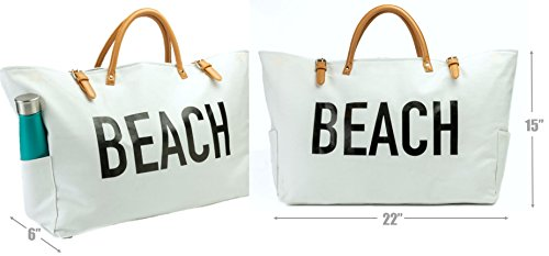 PACO Large Canvas Beach Bag Travel Tote (White), Waterproof Lining, 3 Pockets, FREE Waterproof Phone Case by Paco (Image #2)