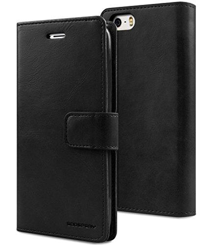 iPhone SE/5S/5 fundas, [Drop Protection] GOOSPERY® Blue Moon Diary Caja del teléfono de la imitación de cuero tirón de la carpeta Case fundas para Apple iPhone SE/5S/5 - Red Black