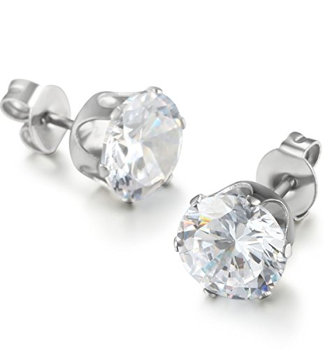 FIBO STEEL Stainless Steel Mens Womens Stud Earrings Clear Round Cubic Zirconia Inlaid, 3mm-8mm Available by FIBO...