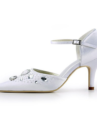 de las del tacones blanco del boda fiesta 3 3 Home 4in de seda punta aguja amp; zapatos talones mujeres la tal¨®n vestido dedo 4in de noche de ZQ white 3 3 3in pie en Textiles white 3in YwOXvq