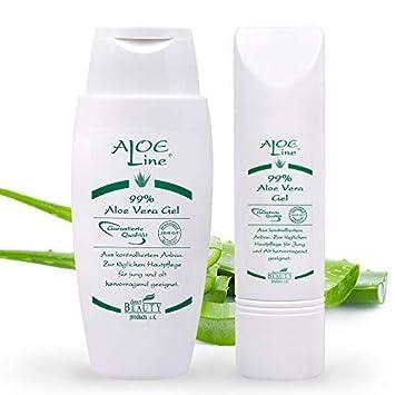 Bio Aloe Vera GEL 99% (1x150ml + 1x50ml) | Dermatologisch getestet mit SEHR GUT | ohne Duft- & Farbstoffe - ohne Parabene - o