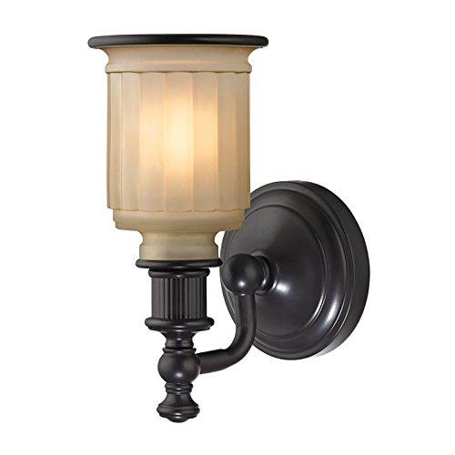 ELK 52010/1-LED, Acadia Glass Wall Sconce Lighting, 1 Light LED, Oil Rubbed Bronze (Fixture Light Wall Acadia 1)