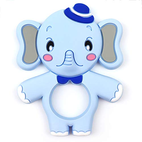 Silicone Baby Teether - Kirecoo Cute Elephant Design BPA Free Silicone Bendable & Freezer Friendly Safe Teether Set for 3 to 12 Months 1 Year Old Babies, Infants, Toddlers (Blue Elephant)