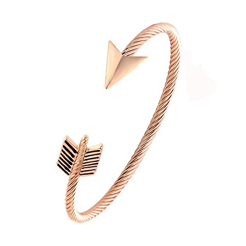NOUMANDA New Women Jewelry Cuff Bangle Arrow Design Wire Twist Bangle Bracelet (Rose Gold) (Element Arrow)