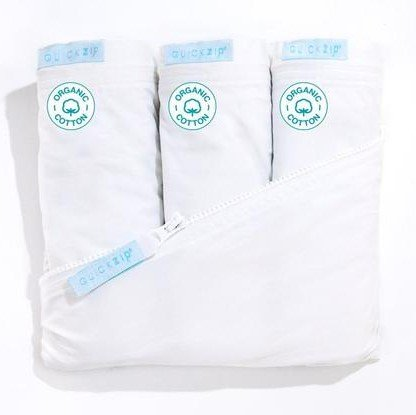 QuickZip Crib Sheet Set - Faster, Safer, Easier Baby Crib Sheets - Includes 1 Wraparound Base & 3 White Organic Cotton Zip-On Crib Sheets - Fits All Standard Crib Mattresses