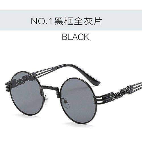 Creative De De Sol Circulares De gris Sol Té Gafas Sol Gafas Marco Gafas Enmarcado negro Moda todo Señoras Vidrios Metálicos JUNHONGZHANG Bronce EzYnqIpw