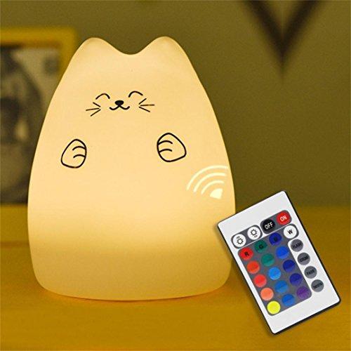 Nightlight,YJYdada Cute Silicone Cat LED Night Light Creative USB Recharge Lamp 7 Color Changing (B) by YJYdada