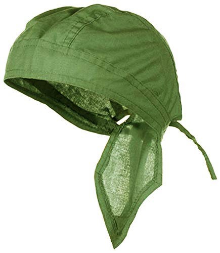 Doo Rag Du Rag Do Cotton Bandana Head Wrap Solid Color Chemo Cap (Olive Drab OD Green) ()