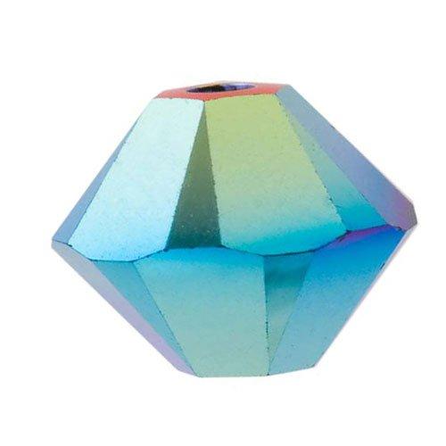 Swarovski Crystal, 5328 Bicone Beads 3mm, 25 Pieces, Jet AB 2X