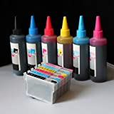 iE Brand – Set of Refillable ink cartridges and an Extra set of high quality refill ink bottles(100ml per color, total 600ml) 79 For Epson stylus photo 1390 1400 1410, Office Central