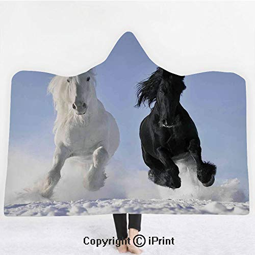 "Horses 3D Print Soft Hooded Blanket Boys Girls Premium Throw Blanket,Competing Racing Black and White Horses on Snow Good and Evil Mythical Symbolic Creatures,Lightweight Microfiber(Kids 50""x60"")Blue ()"