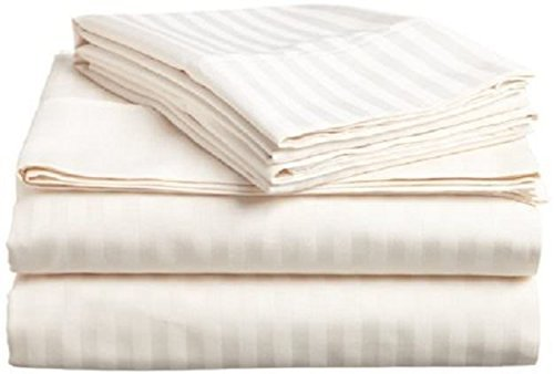 Crafts Linen 4 Piece Sheet Set- 100% Natural Cotton 400 TC Fit Mattress up to 12-inch-Deep Pocket, Feel Ultra-Soft, Comfortable and Eco-Friendly Sheets (Queen, Ivory Stripe) (Celebrity Bed Sheets)