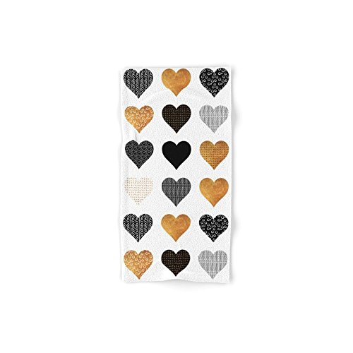 Society6 Gold, Black, White Hearts Set of 4 (2 hand towel...