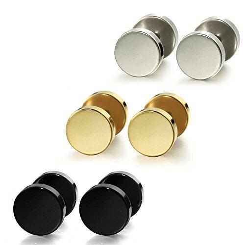 BBX Jewelry Stainless Steel Mens Womens Stud Earrings Ear Plugs Tunnel 8mm