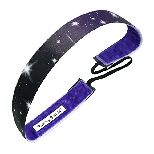 Galaxy Black, Purple – Sweaty Bands Non-Slip Fitness Headband – Polyester Fashion Headband – 1-Inch Wide