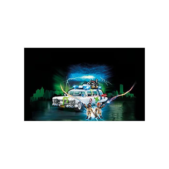 41pytsEpaaL Diversión para pequeños cazafantasmas: Ecto-1 de los Cazafantasmas de PLAYMOBIL con fantásticos efectos de luz y sonido y espacio para 4 cazafantasmas y su equipo Techo extraíble, puerta de maletero abatible, 2 figuras, 4 fijaciones para los equipos, trampa para fantasmas y mucho más, compatible con el Cuartel Estación de Bomberos de los Cazafantasmas (9219) Juego de figuras para niños a partir de 6 años: óptimo para el tamaño de sus manos y bordes redondeados agradables al tacto