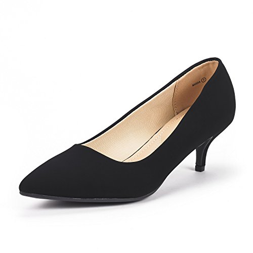 DREAM PAIRS Women's Moda Black Suede Low Heel D'Orsay Pointed Toe Pump Shoes Size 8.5 M US