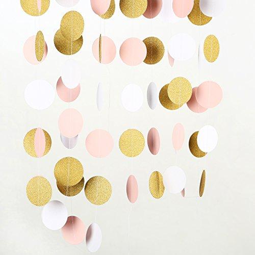 MOWO Paper Garland Gold Glitter Pink White 2'' Circle Dots Decoration 3pc 30feet in - Garland Round